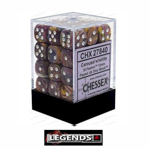 CHESSEX - D6 - 12MM X36  - Festive: 36D6 Carousel / White (CHX 27840)