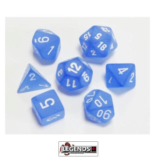 CHESSEX ROLEPLAYING DICE - Frosted Blue/White 7-Dice Set  (CHX 27406)