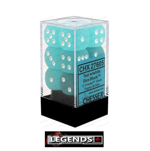 CHESSEX - D6 - 16MM X12  - Frosted: 12D6 Teal / White  (CHX 27605)