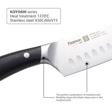 Load image into Gallery viewer, Santoku knife 7'' with raised dots KOYOSHI (X50CrMoV15 steel)