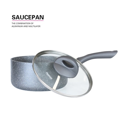 Sauce pan MOON STONE , with glass lid, 2,2Ltr