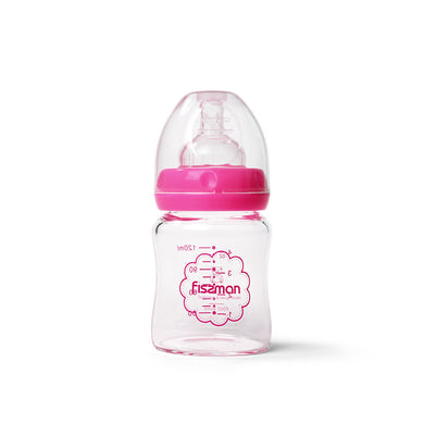 120ml wide neck borosilicate glass bottle in box-pink