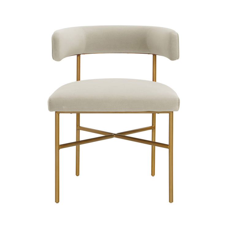 Kim Performance Velvet Chair in Cream