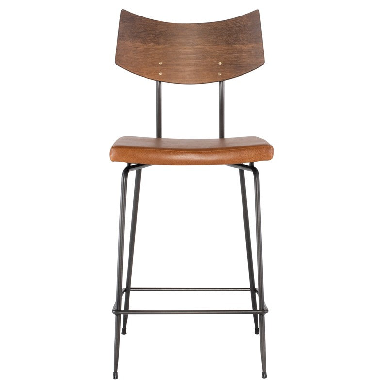 Soli Counter Stool Seared Oak/Caramel Leather Seared Oak/Caramel Leather Counter Stools Nuevo Old Bones Furniture Company https://www.oldbonesco.com/