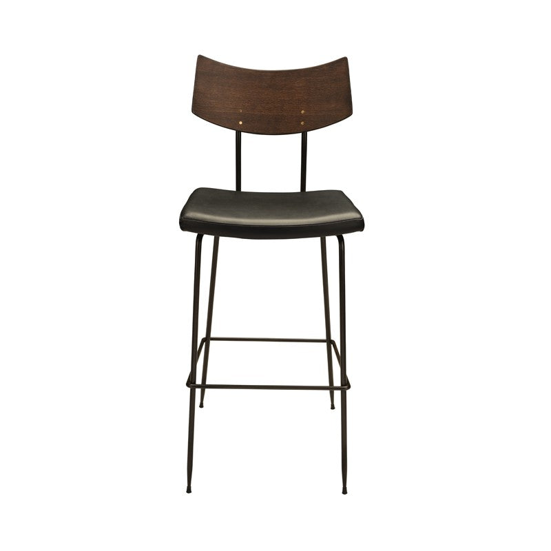 Soli Counter Stool Seared Oak/Black Leather Seared Oak/Black Leather Counter Stools Nuevo Old Bones Furniture Company https://www.oldbonesco.com/