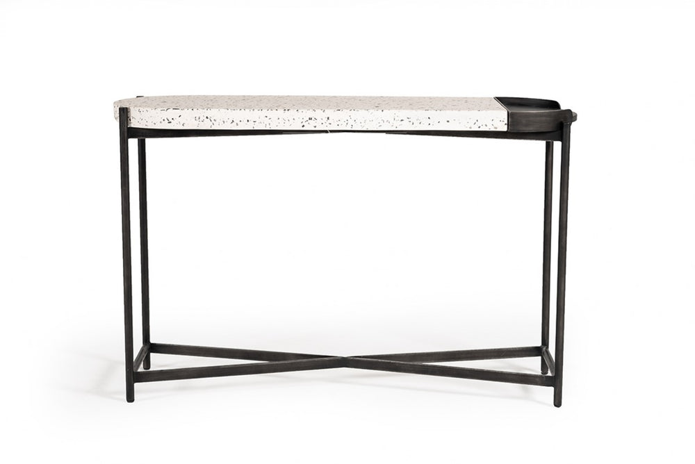 Gemini Modern White Terrazzo Concrete & Black Metal Console Table