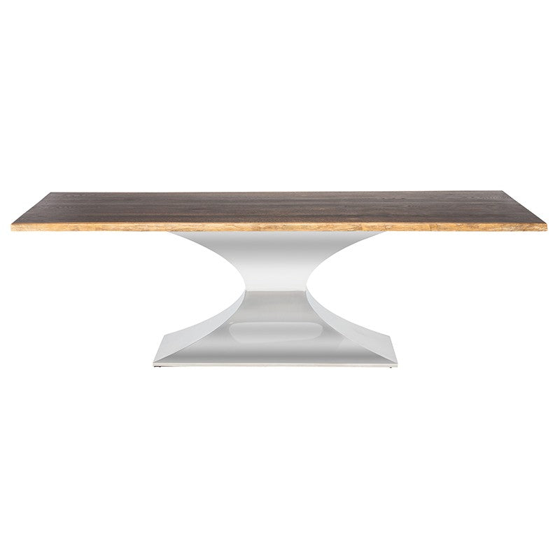 Praetorian Dining Table Small / Seared Oak Polished Stainless Small Dining Table Nuevo, Old Bones Co  https://www.oldbonesco.com/