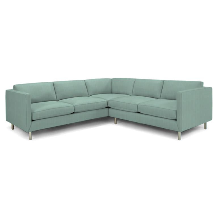 Topanga Sectional Right Arm Facing Sunbrella Dupione Sky Dupione Sky Sectionals Jonathan Adler Four Hands, Mid Century Modern Furniture, Old Bones Furniture Company, https://www.oldbonesco.com/