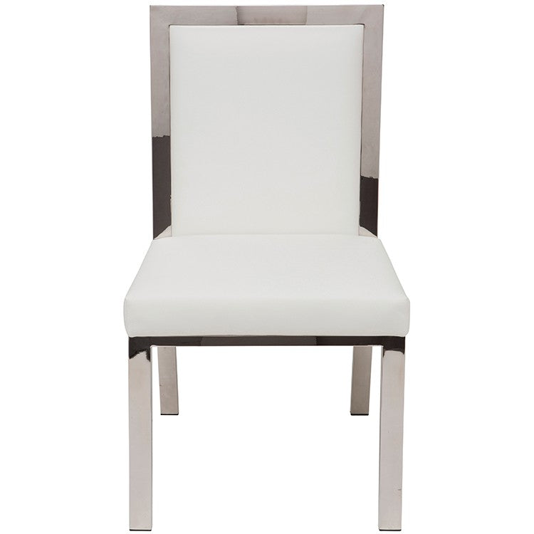 Rennes Dining Chair White Leather   Dining Chair Nuevo Four Hands, Mid Century Modern Furniture, Old Bones Furniture Company, https://www.oldbonesco.com/