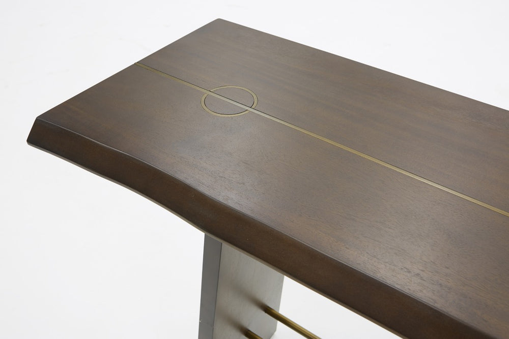 Selena Modern Acacia & Brass Console Table   Console VIG Furniture Four Hands, Mid Century Modern Furniture, Old Bones Furniture Company, https://www.oldbonesco.com/