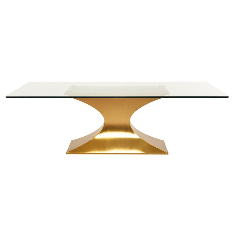 "Praetorian Glass Dining Table Large 94"" / Brushed Gold Stainless Large 94"" Dining Table Nuevo Four Hands, Mid Century Modern Furniture, Old Bones Furniture Company, https://www.oldbonesco.com/"