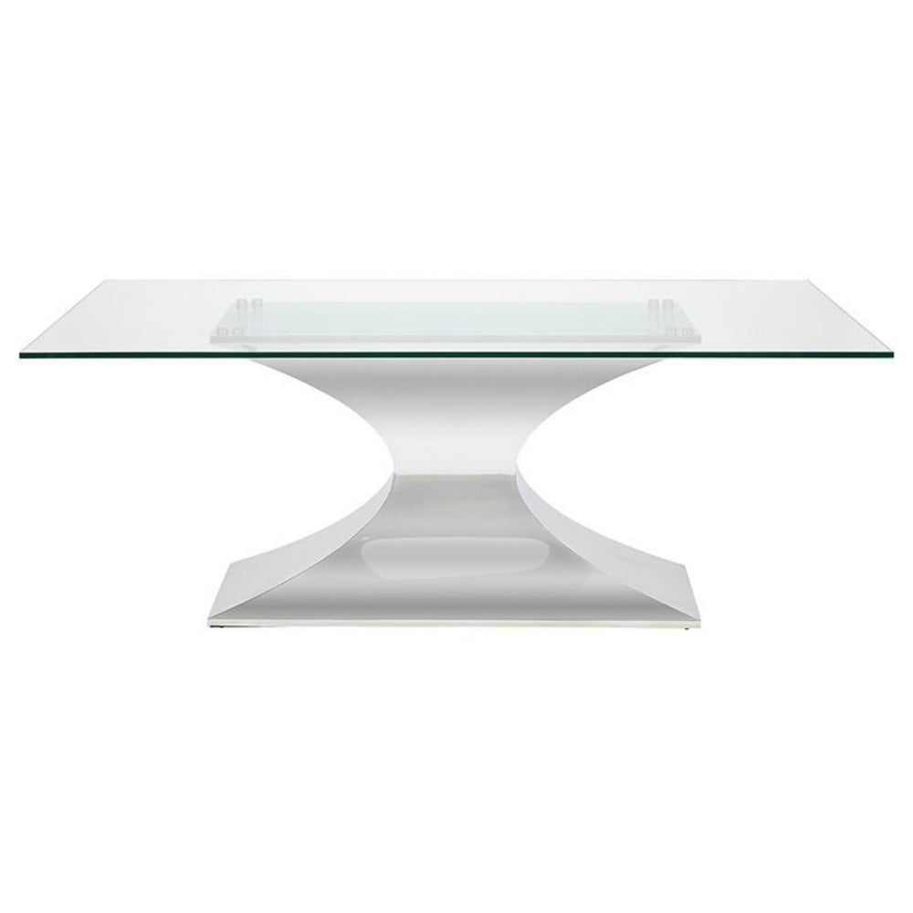 "Praetorian Glass Dining Table Small 78"" / Polished Stainless Small 78"" Dining Table Nuevo Four Hands, Mid Century Modern Furniture, Old Bones Furniture Company, https://www.oldbonesco.com/"