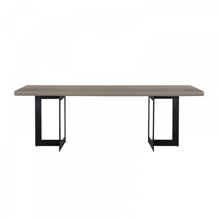 Sharon Modern Concrete & Black Metal Dining Table