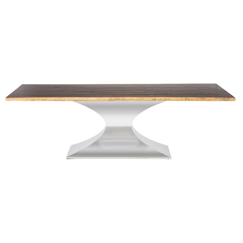 Praetorian Dining Table Large / Seared Oak Polished Stainless Large Dining Table Nuevo, Old Bones Co  https://www.oldbonesco.com/