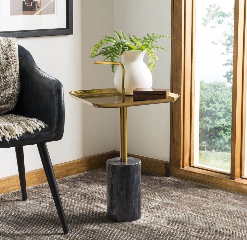Artemis Square Brass Top Side Table   Accent Tables safavieh, Old Bones Co  https://www.oldbonesco.com/