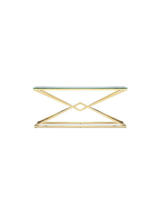 Chandler Console Table - Polished Gold Steel
