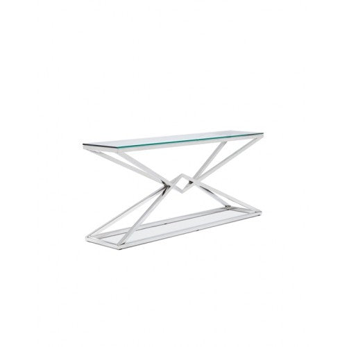 Chandler Console Table - Polished Stainless Steel   Console Table Lievo Old Bones Furniture Company https://www.oldbonesco.com/
