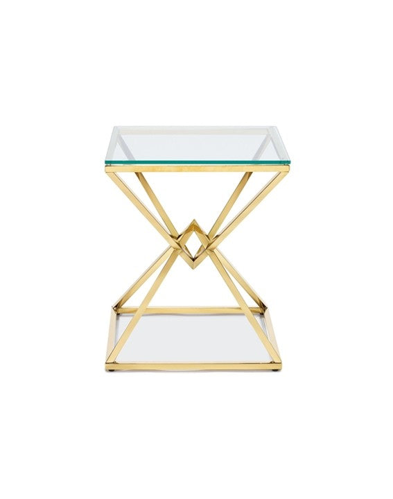 Chandler Side Table - polished Gold Steel