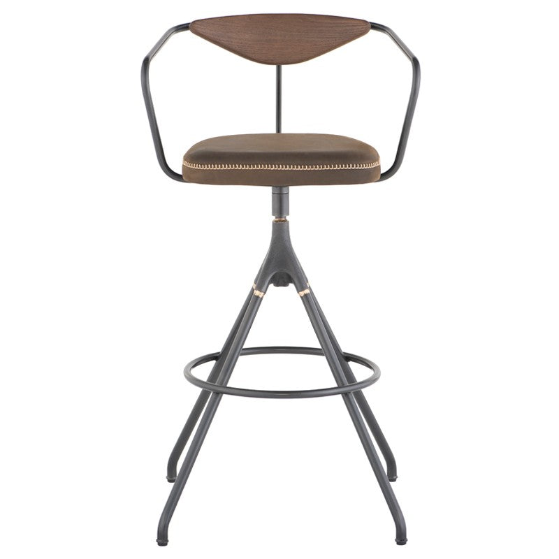 Akron Bar Stool - Jin Green Leather   BAR AND COUNTER STOOL District Eight, Old Bones Co  https://www.oldbonesco.com/