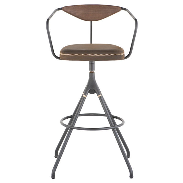 Surprising Akron Bar Stool Jin Green Leather Gmtry Best Dining Table And Chair Ideas Images Gmtryco