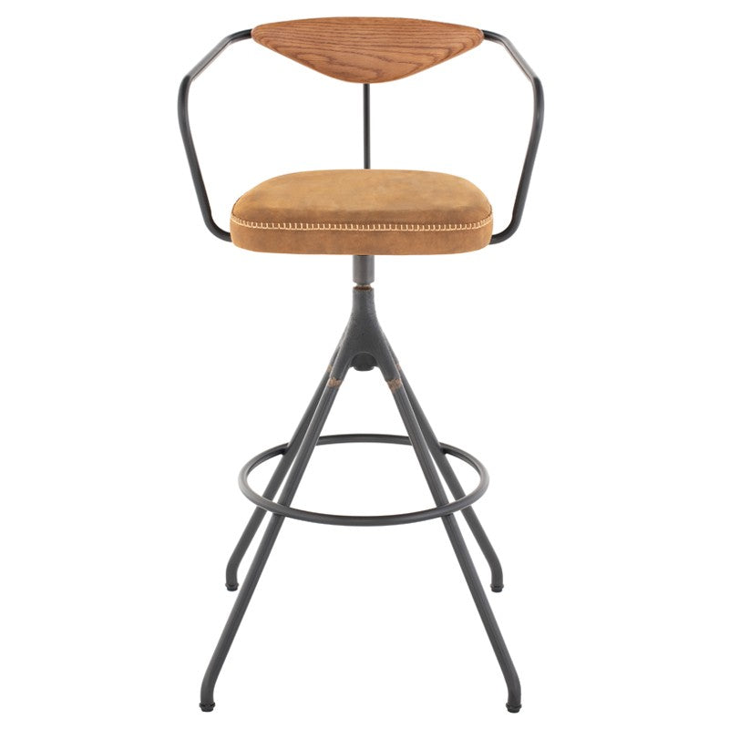 AKRON BAR STOOL - UMBER TAN LEATHER