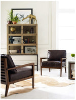 Laurent Wood Frame Accent Chair-DK BRN L