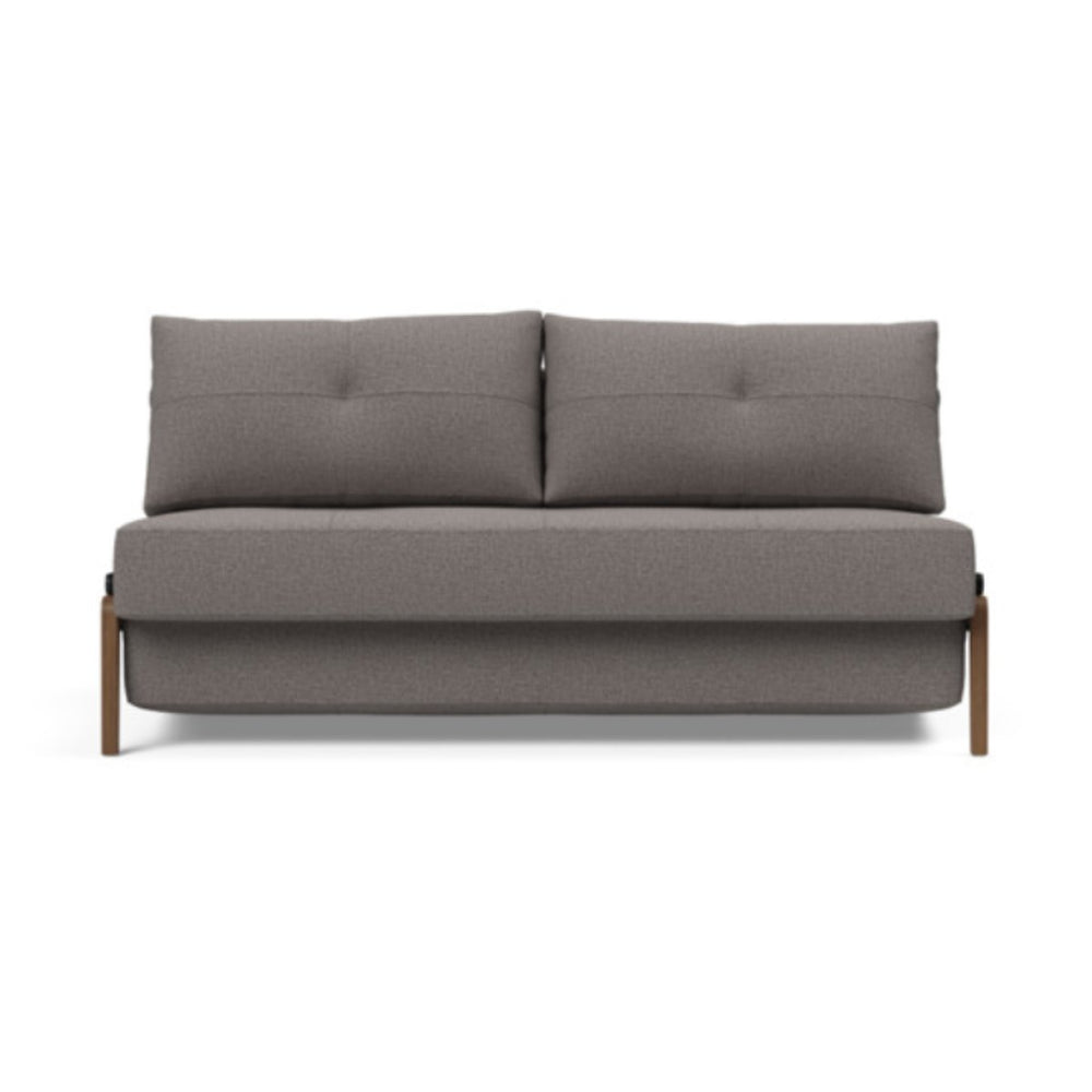 Cubed Queen Size Sofa Bed With Dark Wood Legs