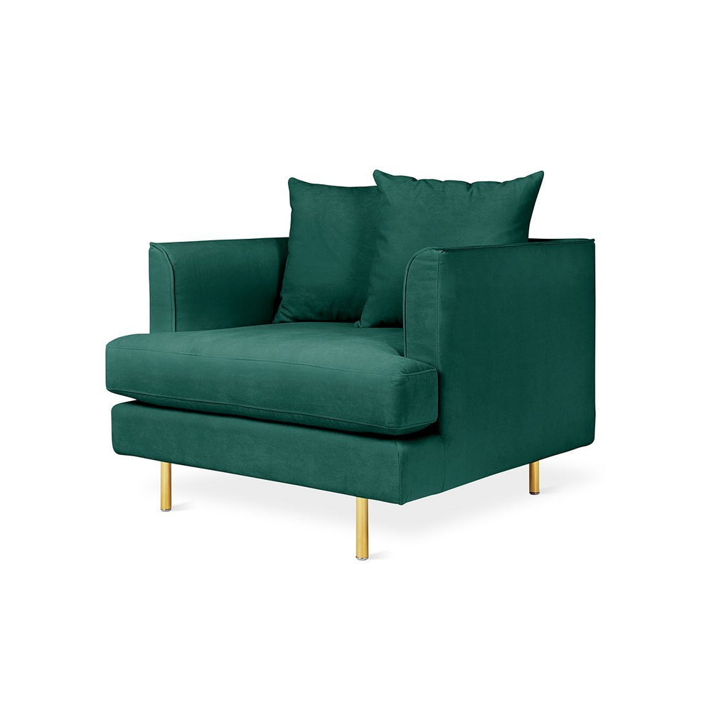 Margot Chair Velvet Spruce / Brass Velvet Spruce Lounge Chair Gus* Four Hands, Mid Century Modern Furniture, Old Bones Furniture Company, https://www.oldbonesco.com/