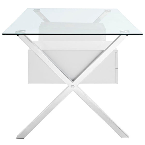Genevieve Glass Top Office Desk in White