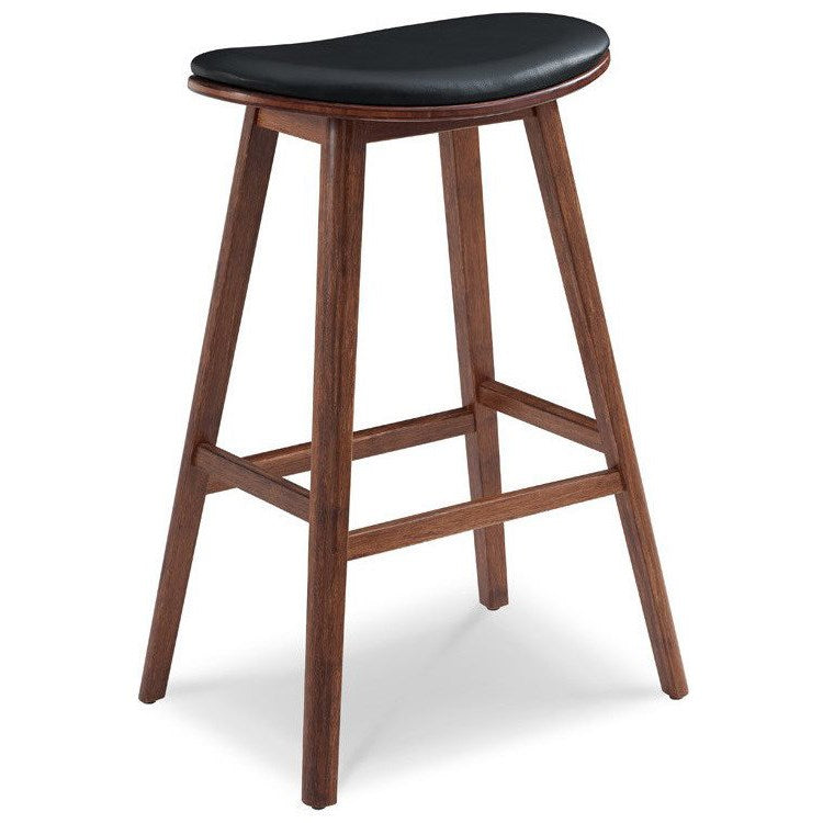"Corona 30"" Bar Stool w/ Black Leather, Exotic - Old Bones Furniture Company"
