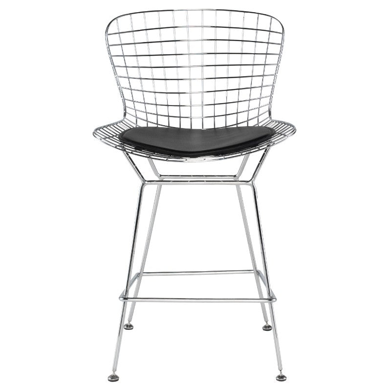 Wireback Black Naugahyde Counter Stool