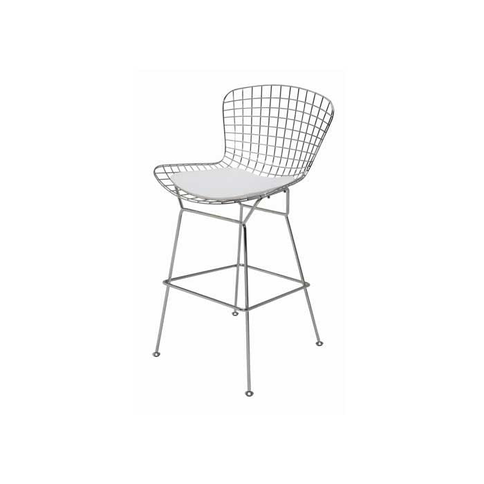 Wireback White Naugahyde Counter Stool   STOOL Nuevo Old Bones Furniture Company https://www.oldbonesco.com/