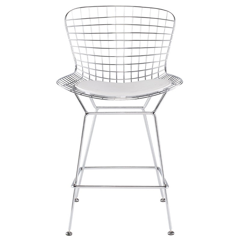 Wireback White Naugahyde Counter Stool White White STOOL Nuevo Old Bones Furniture Company https://www.oldbonesco.com/