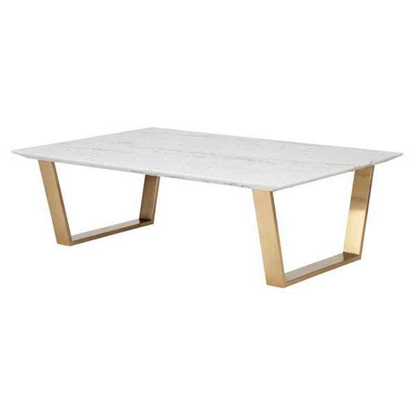 Catrine White Stone Coffee Table - Old Bones Furniture Company