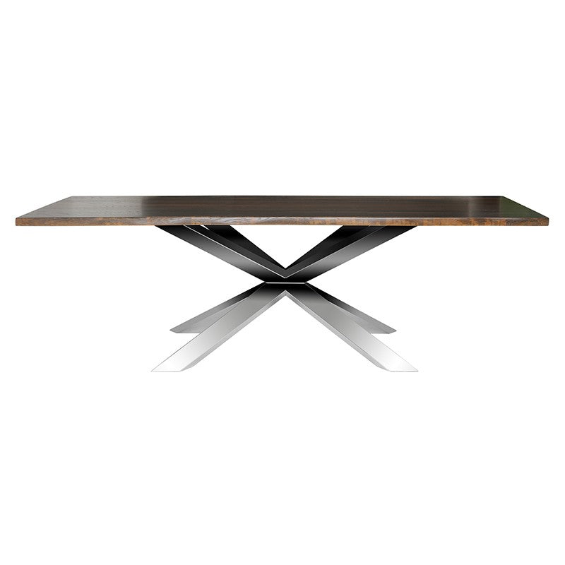 Couture Seared Wood Dining Table - Stainless Steel Base