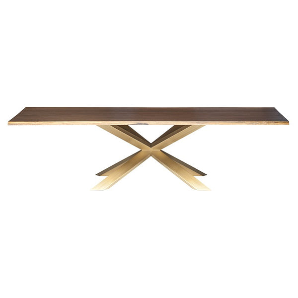 Couture Seared Wood Dining Table - Brushed Gold Base