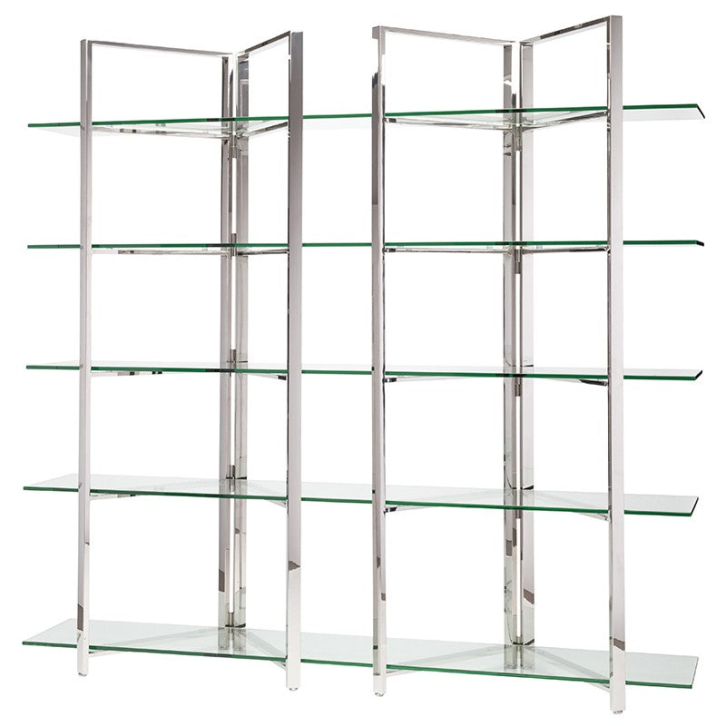 Elton Clear Glass Display Shelving - Silver