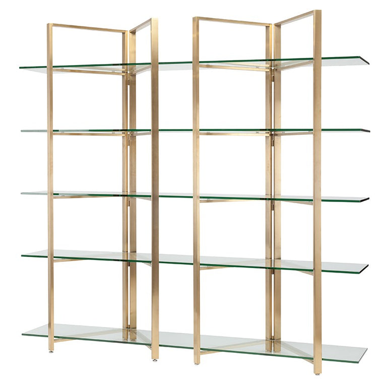 Elton Clear Glass Display Shelving - Gold