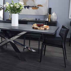 Couture Oxidized Grey Wood Dining Table - Matte Black Base