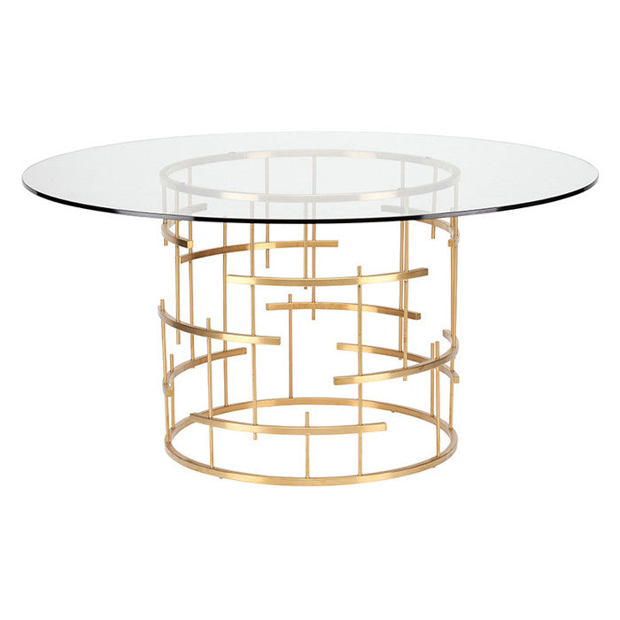 Round Tiffany Dining Table Small / Brushed Gold Stainless Small Dining Table Nuevo, Old Bones Co  https://www.oldbonesco.com/