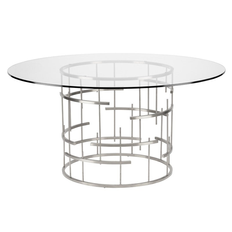Round Tiffany Dining Table Small / Polished Stainless Small Dining Table Nuevo, Old Bones Co  https://www.oldbonesco.com/
