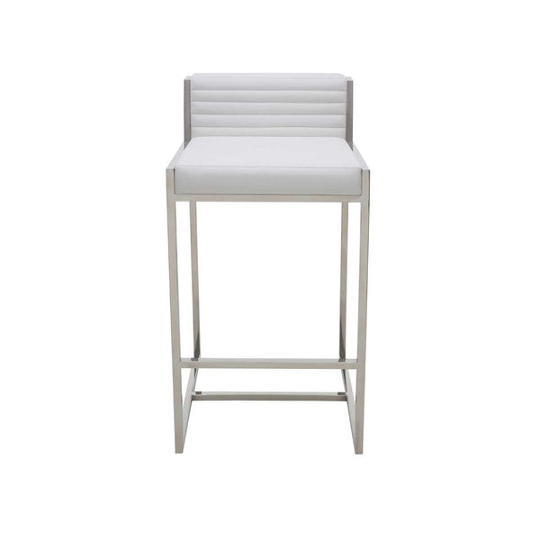 Zola White Leather Counter Stool Old Bones Furniture Company
