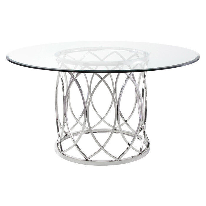 Juliette Clear Glass Dining Table - Old Bones Furniture Company