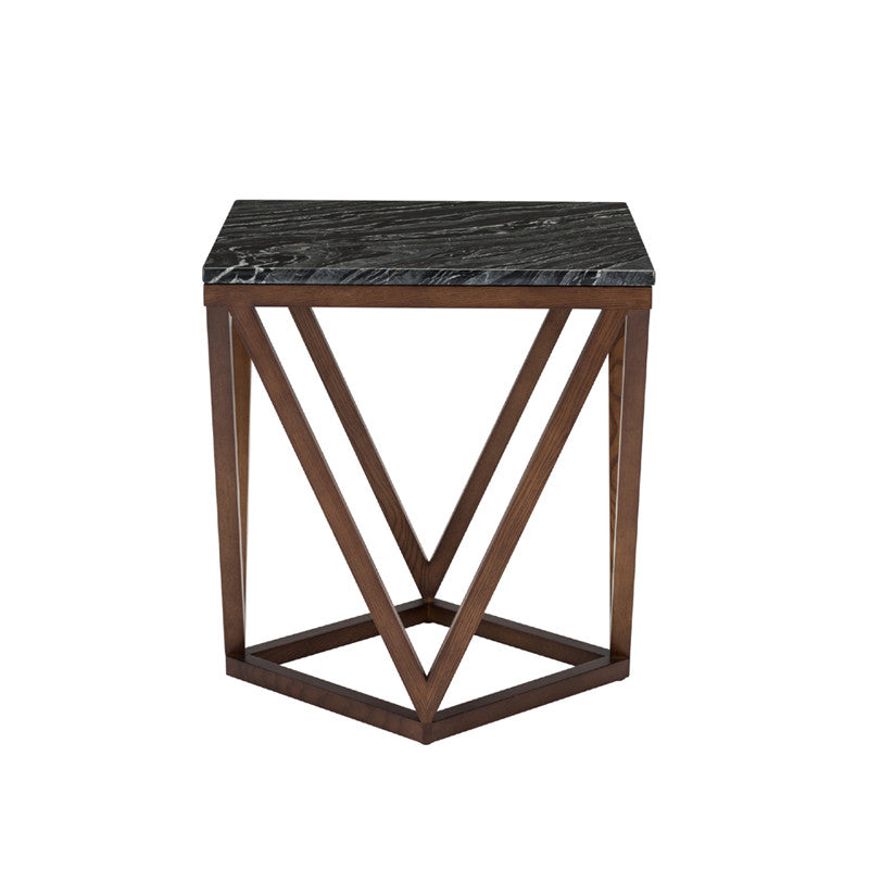 Jasmine Black Stone Side Table - Old Bones Furniture Company