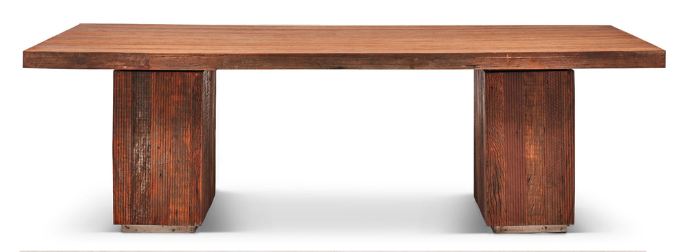 "Tula 96"" Bench Double Pedestal   Dining Table Urbia, Old Bones Co  https://www.oldbonesco.com/"