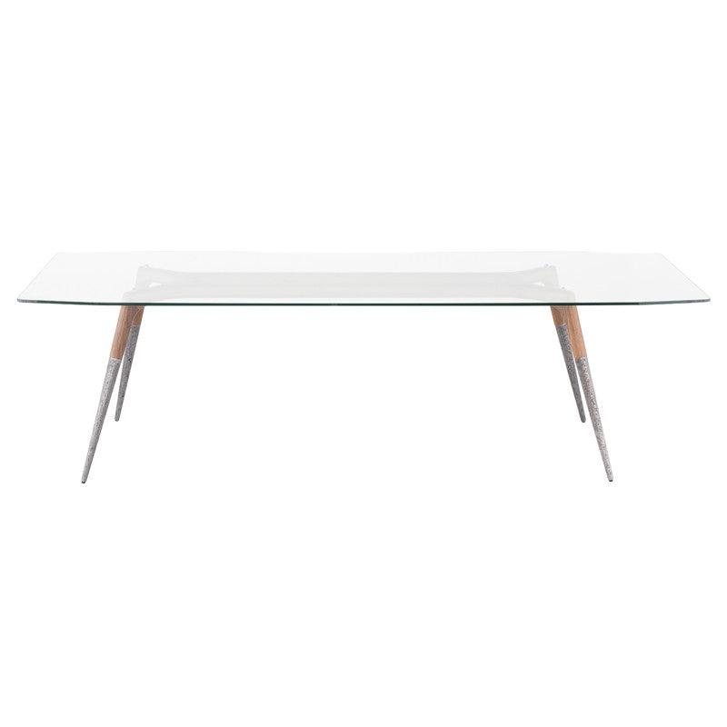 "ASSEMBLY DINING TABLE CLEAR GLASS 102""L"