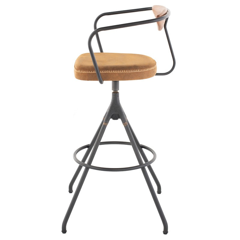 Akron Bar Stool - Umber Tan Leather   BAR AND COUNTER STOOL District Eight, Old Bones Co  https://www.oldbonesco.com/