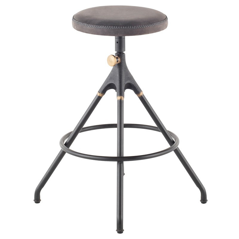 AKRON COUNTER STOOL - STORM BLACK LEATHER