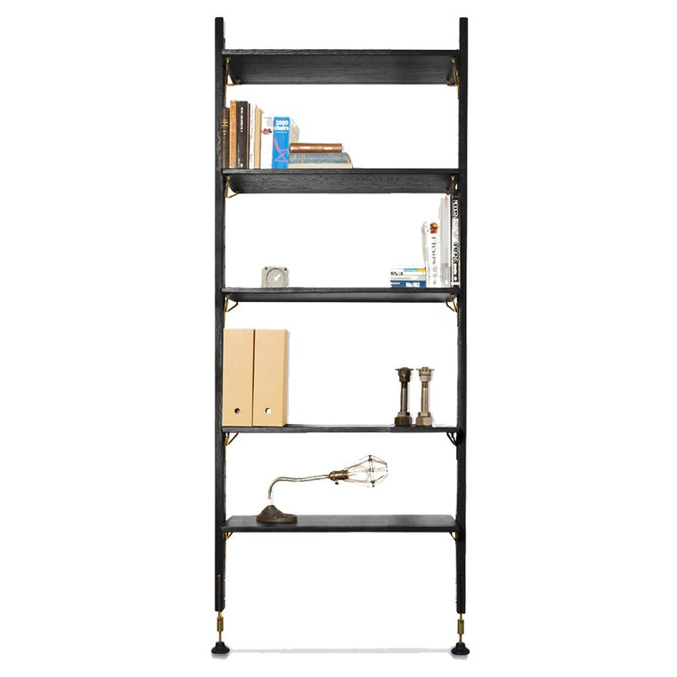 THEO WALL UNIT WITH SMALL SHELVES - BLACK