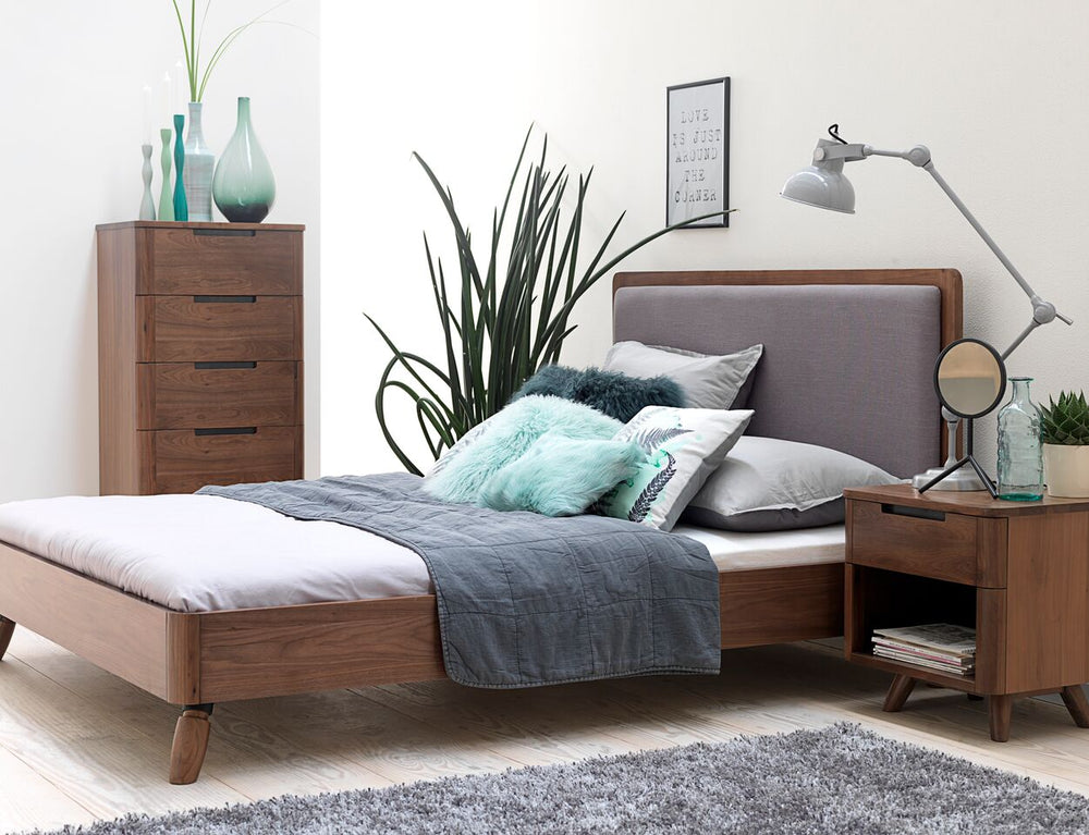 Tahoe Mid Century Modern Walnut Queen Size Bed - Old Bones Furniture Company